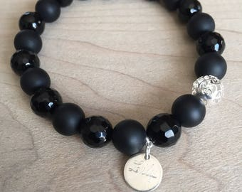 Bracelet 8mm onyx and Sterling Silver 925