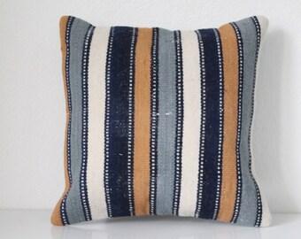 Vintage Kilim Pillow Rug Pillow Handmade Pillow 16x16 inches