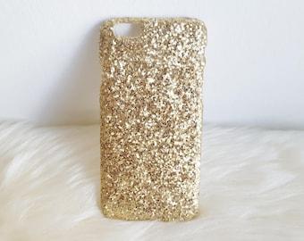 Glamorous Gold Glitter iPhone Hard Case For 5/5S/SE,  6/6S, 6/6S Plus, 7 & 7 Plus