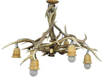 vintage antler chandelier with six spouts ca. 1950s