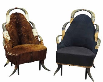 a pair great antique horn chairs, austria ca. 1870