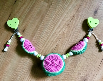 Baby carriage chain, watermelon, crochet