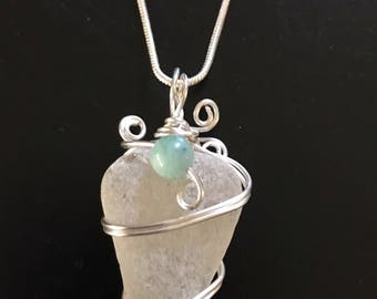 White genuine seaglass necklace with turquoise bead
