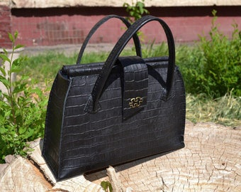 Leather tote bag, Women's Tote Shoulder Bag, Handmade, leather tote black, tote bag.