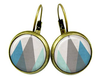 Earrings cabochon / / GEOMETRIC mountains / / poem cottage