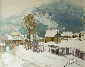 Original oil painting Synevir winter mountains landscape Realism Plain air