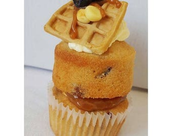 Caramel and blueberry muffin