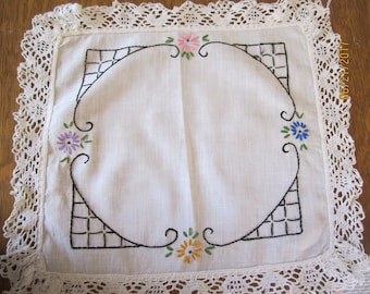Antique Embroidered Square Doily