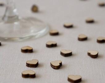 Wedding table confetti. Rustic Boho scatter wooden hearts decoartions L066