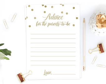 Advice Card Baby Shower Words of Wisdom Cards Advice for Parents to Be Printable Gold Confetti Baby Shower Decor Fun Baby Party Game DIY GCO