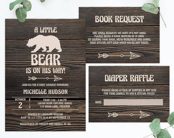 Wood Baby Shower Invitation Set Template Download Woodland Baby Shower Invites Baby Bear Baby Shower Rustic Baby Shower Invitation Boy BBD