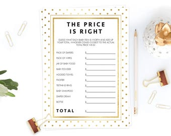 The Price is Right Game Cards Printable Modern Baby Shower Games Template Gold Baby Shower Neutral Decorations Guess the Price Download GD1