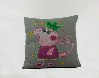 Peppa the friendly Pig, Hand-painted Cushion Cover. Baby Shower, birthdays, Square, Pillow Cover, Decorative Pillow.
