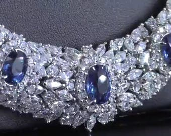 SAPPHIRE/DIAMOND NECKLACE Spectacular! One of a Kind, very high end piece.