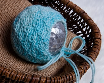 Luke Newborn Bonnet Pattern,  Knit PDF Pattern, Newborn Hat Pattern, PHOTO shoot prop, Knit, Worsted weight 4, PDF, Newborn hat