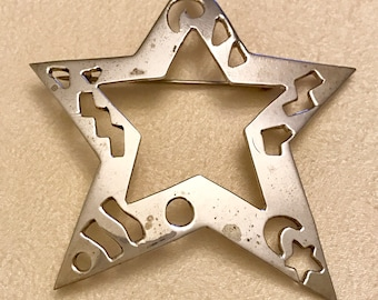 Vintage Sterling Silver Mexico Star Brooch