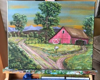 Spring on the Farm, Acrylic Painting, Landscape Americana