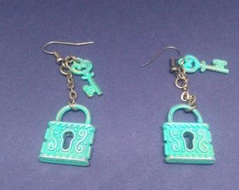 Padlock and key earrings