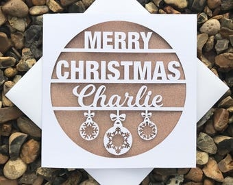 Personalised Christmas Cards, Christmas Card, Laser Cut Christmas Card, Personalised Xmas Card, Christmas Gift, Merry Christmas Gift