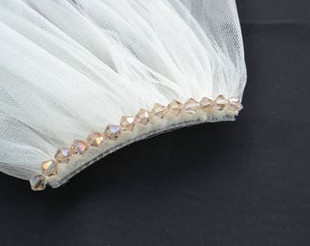 Tulle veil with crystal heading