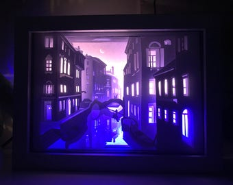 Papercut Light Box - Night in Venice