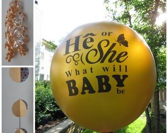 """36"""" Gold Gender Reveal Balloon, Jumbo Gender Reveal Balloon, He or She, Girl or Boy gender reveal party balloons"""