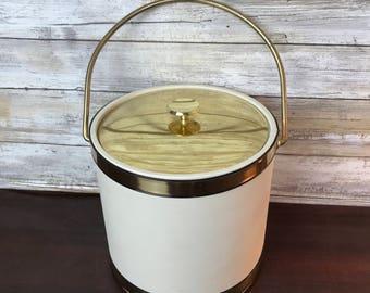 Vintage Mid Century Kraftware Ice Bucket Gold White Brass Handle Top MCM