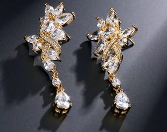 Bridal Jewelry Bridal Earrings Wedding Earrings Wedding Crystal Earrings Long Zirconia Earrings Wedding Jewelry Cubic Zirconia Earrings