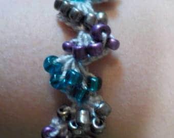 Teal, Purple, and Silver Beaded Crochet Bracelet