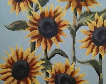 Sunflowers Framed Original Painting Acrylic on Canvas
