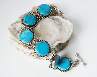 Mexico Turquoise and Sterling Silver Bracelet, Vintage Handmade Mexico Link Bracelet with Toggle Clasp