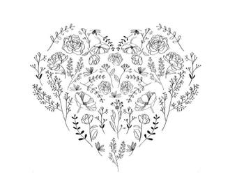 Custom Floral Heart Illustration