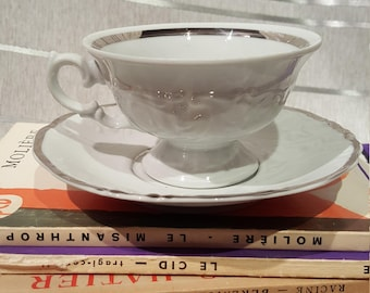 Vintage Wawel Footed Teacups and Saucers Platin Pattern With Raised Design White with Silver Platinum Details Set of 10