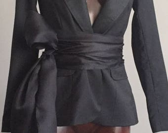 Unique TUXEDO BLAZER with huge ORGANZA bow size S