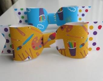 School Print Hair Bows (Pack of 2)  - Hair Bows - Hair Bobbles - Hair Accessories