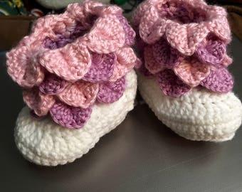 Crochet crocodile booties