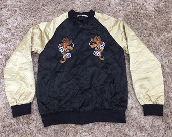 Sukajan Jacket Dragon Nice Color Gold Black Thin Nylon Japan