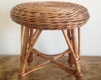 Vintage wicker stool / Tabouret  en rattan - vintage