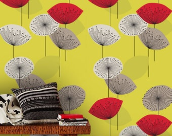 Removable wallpaper/Wallpaper/Peel and Stick/Self adhesive wallpaper/Modern Wallpaper /Flowers patern A042