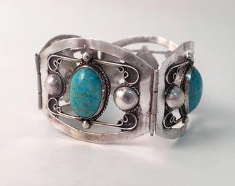 Beautiful Vintage Antique Sterling Silver Wide Hechoen Mexico 925 Hinged Bangle Cuff Bracelet With Glass / Opals /Turquoise