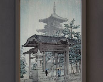 Art Print - Shin-Hanga Japanese Art Titled Zentsuji Temple in Rain (1937) by Kawase Hasui