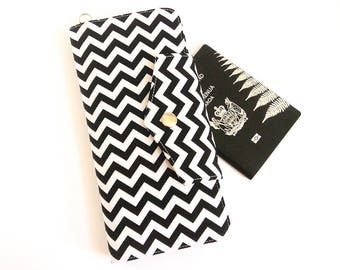 Passport Wallet, Large Travel Wallet, Family Passport Holder in Black Chevron with detachable wrist strap - Made To Order
