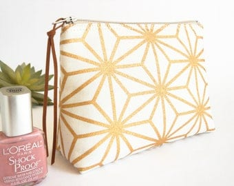 Mini Geometric Makeup Bag, Japanese Star Cosmetic Pouch, Gold and White Makeup Pouch, Toiletries Case, Small Makeup Pouch, Bridesmaid Gift