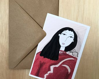Girl in red - A6 greetings card