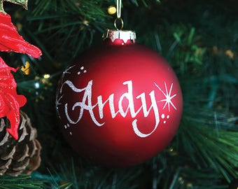 Red Glass Personalised Christmas Decoration