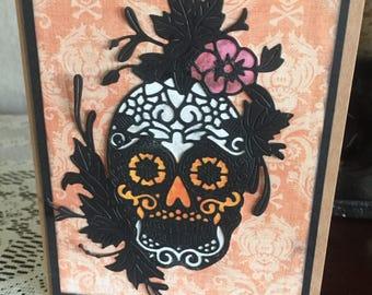 Day of the Dead, Dia de Muertos, Happy Halloween, handmade card, beautiful die cut, intricate die, colorful black, orange, pink