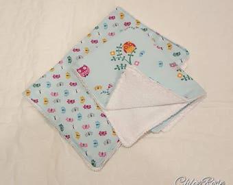 Baby Girl Blue Butterflies and Owl Burp Cloths