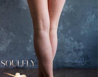 New Crystal Tights Fishnet Fashion white Diamonds Nude Net