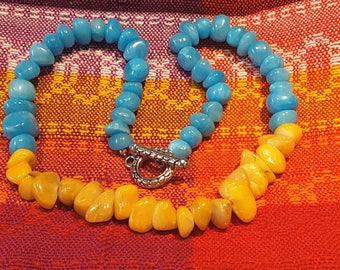 Blue and yellow stone necklace