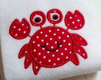 Applique Crab machine embroidery instant download design, appliqué nautical design, beach crab, ocean crab nautical design